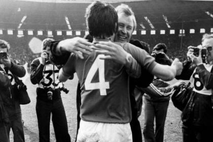 Rangers manager Jock Wallace hugs his captain John Greig after beating Aberdeen 2-1 in the Scottish Cup final at Hampden in 1978. #SportTimestop50