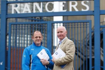 Sons of Struth chief Craig Houston and Rangers legend John Brown with their petition at Ibrox