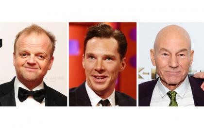 (left to right) Toby Jones, Benedict Cumberbatch and Sir Patrick Stewart who are lending their voices to recreate original D-Day bulletins for Radio 4 listeners.