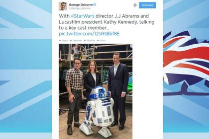 Screen grab taken from the Twitter feed of Chancellor George Osborne showing Mr Osborne (right) with Star Wars director J.J Abrams and Lucasfilm president Kathy Kennedy, after the Chancellor hailed the news that another Star Wars is to be shot.