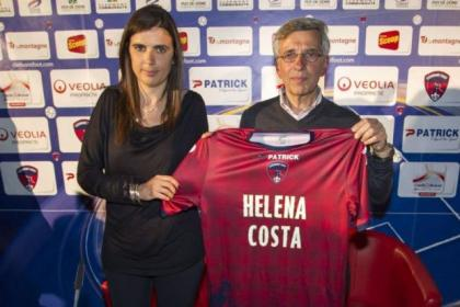 Helena Costa with Clermont Foot president Claude Michy