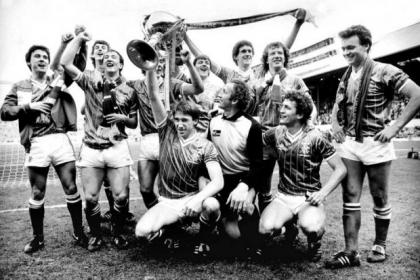 Rangers players celebrate after beating Celtic 3-2 in the League Cup final at Hampden in 1984. #SportTimestop50