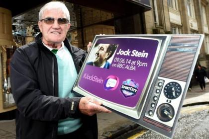 Celtic legend Bertie Auld promotes a documentary about club icon Jock Stein on BBC Alba