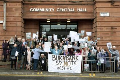 Residents took to the streets to protest at the homeless hostel