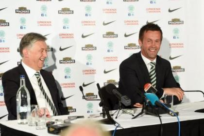 Celtic chief executive Peter Lawwell is in good spirits as he unveils Ronny Deila at Celtic Park