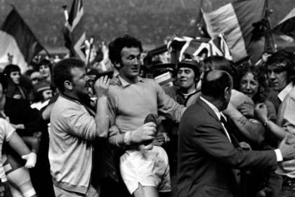 Peter McCloy is mobbed by fans after Rangers' Greatest Ever Game when they beat Moscow Dynamo to win the Cup-Winners' Cup