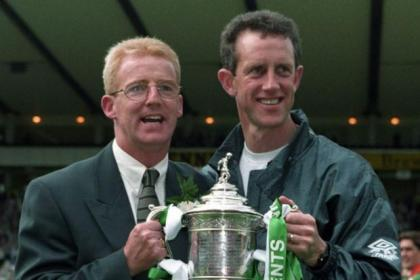 Tommy Burns celebrates with No.2 Billy Stark following 1995 Scottish Cup win over Airdrie