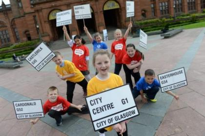 Pupils from Alexandra Parade Primary helped unveil the details of the relay route                 Picture: Nick Ponty