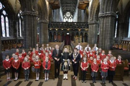 Pupils took part in a cermeony to remember those who fell in World War One