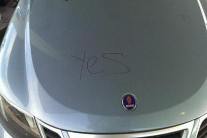 Councillor Cunning's car was vandalised by Yes campaigners