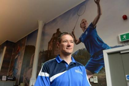 Tony Stanger  in his SportScotland office and, below, playing for ScotlandPicture:  Nick Ponty