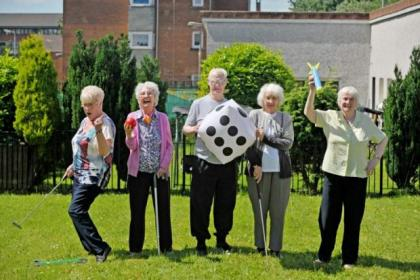 GHA Sword Street sheltered housing residents Mima Queen, Nancy Smith, Jimmy McTaggart, Betty Smith, and Frances O'Rourke are all set for a Summer of Sport. Picture Nick Ponty