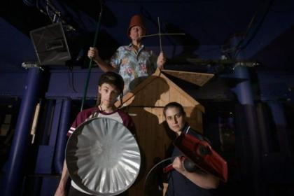 James Smillie, back, Scott Miller and Natalie Toyne in Don Quixote, this week's A Play, A Pie, And A Pint at Oran Mor. Picture: Colin Templeton