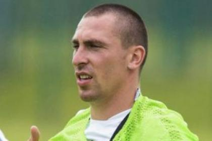 Celtic captain Scott Brown goes through his paces at a training session at Lennoxtown