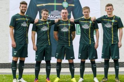 Charlie Mulgrew, Adam Matthews, Scott Brown, Stefan Johansen and Liam Henderson show off the new Celtic new away kit