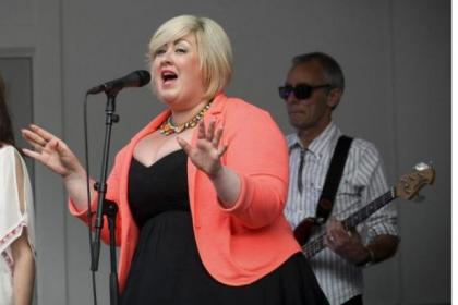 Michelle McManus belts it out with her band and, below, the John Beattie Band starring some of the rugby hero's BBC personality colleagues.