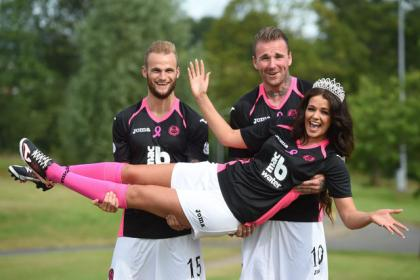 Partick thistle duo Ryan stevenson (right) and Kallum Higginbotham are joined by Miss Glasgow West End Keri Mattinson to show off the club's new away kit, designed in support of Breast Cancer Care. Picture by SNS.