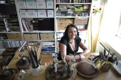 Jewellery designer Niki Longmuir in her studio with some of her creationsPicture: Jamie Simpson
