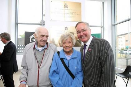 Gordon Matheson and residents Jimmy and Margaret Dolan at flats where Harold Wilson unveiled plaque Main picture: Colin Templeton