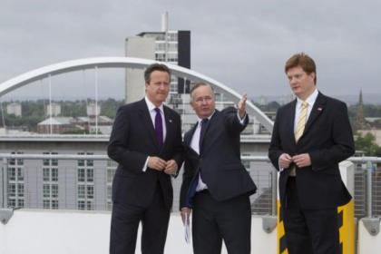 David Cameron, Gordon Matheson and Danny Alexander joined to welcome the cash boost announced for Glasgow