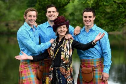 Textile designer and artist Jilli Blackwood, above, joins Team Scotland athletes, from left, Scott White, Lee Jones and Sean Lamont, and Charline Joiner, below, as they show off the uniform to be worn by the team for the opening ceremony this month