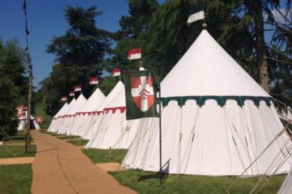 There are 38 medieval campaign tents at Warwick Castle, dotted along the River Avon