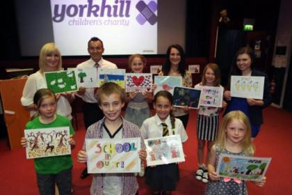 Back row: Bonaly Primary teacher Linda Darroch, Jason Miller of Central Car Auctions, Jade Hoy, Yorkhill Hospital PR Abigail Stein and Megan Sneddon. Front row: Robin Crossley, Adam Palencar, Clover Conway and Heather Gillespie