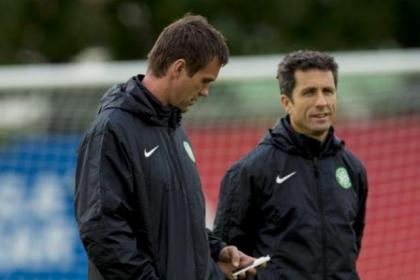 Celtic manager Ronny Deila and his assistant John Collins keep a watching brief on Celtic's training session at Reykavik last night