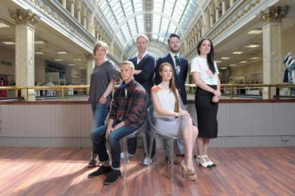 Georgia Wiseman,  Guy Hundleby (Strathberry) Alan Moore (ten30) and Rebecca Torres.  Seated models: Ryan Hughes wearing ten30 and Hannah Palmer wearing  Rebecca TorresPictures: Kirsty Anderson