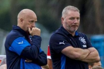Manager Ally McCoist, right, and assistant Kenny McDowall look on during Rangers' 3-1 defeat against Ventura County Fusion