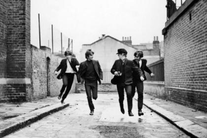 The Beatles in a scene from A Hard Day's Night in 1964