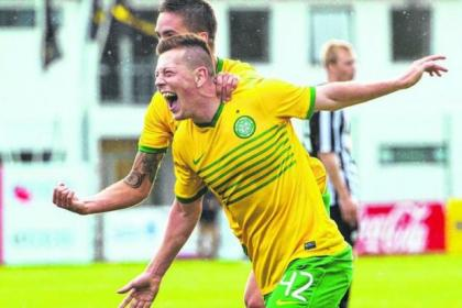 Callum McGregor celebrates his goal against KR Reykjavik