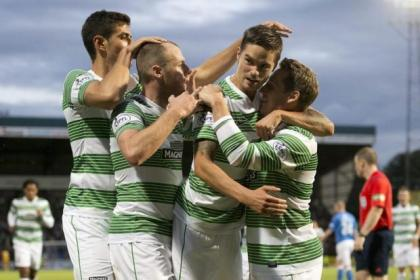 Anthony Stokes (second left) celebrates his opener with Nir Biton, Mikael Lustig and Kris Commons