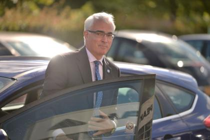 Alistair Darling pictured in Inchinnan today. Picture by Jamie Simpson.