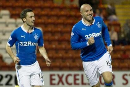 Kris Boyd celebrates his second goal for Rangers
