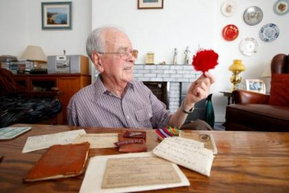 John Neville, 88, at his home in Baillieston with his medals and memorabilia,