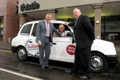 Organiser Warren Paul, business development manager Michael Allen and vice chairman of Glasgow Taxi's Stephen Flynn with the branded taxi, and inset, Aldo Zilli Main Picture: Kirsty Anderson