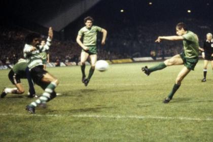 Celtic's Tom McAdam nets against Sporting Lisbon