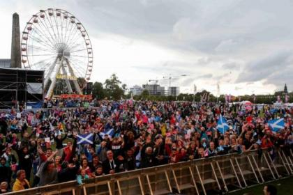 Martin McMahon joined the Glasgow Green crowds with daughter Megan, 9, and partner Heather Paton, all from Coatbridge