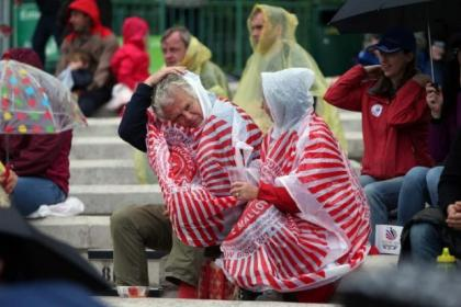 Revellers were keeping dry with the help of Tunnock's Teacake-wear