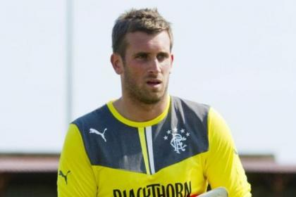 Rangers keeper Cammy Bell had to have treatment during Derby clash