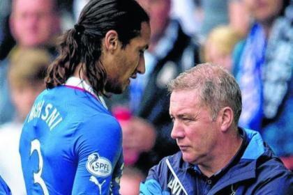 Bilel Mohsni is shunned by Rangers manager Ally McCoist as he leaves the pitch in Derby