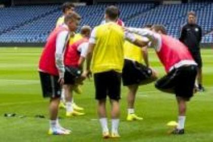 James Forrest trained with the Celtic squad at Murrayfield last night