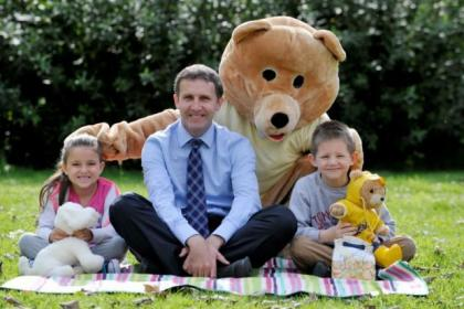 Health Minister Michael Matheson was joined by Carla Skaramuzza and Sunny Rae at Big Tiny's teddy bears' picnic. Picture: Nick Ponty