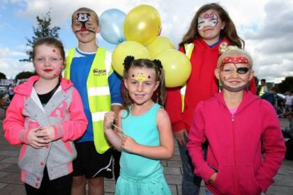 Kayla Logan, Lee Wright, Julieanne Reevie, Holly Gilmore and Mason Clark enjoy the party       Picture: Colin Templeton