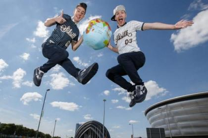 High-flying duo Twist and Pulse help launch the World Street Dance Championships in Glasgow