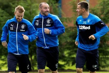 Steven Smith, Kris Boyd and Lee McCulloch train ahead of Rangers' Championship meeting with Falkirk tonight