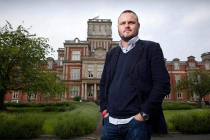 Al Murray in front of the former Royal Earlswood Asylum in Surrey