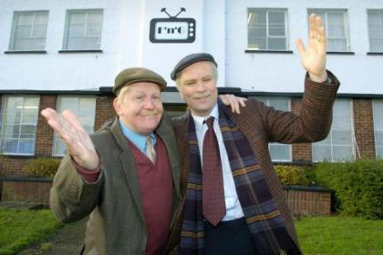 Ford Kiernan and Greg Hemphill as Still Game's Jack and Victor, and left, outside the SSE Hydro Arena, where they will perform for 21 nights