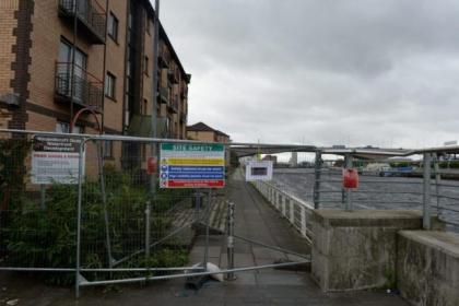 The pedestrian walkway has been closed after the cracks in the quay wall were discovered. Picture: Nick Ponty